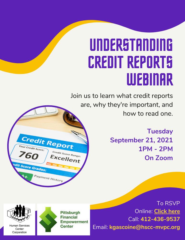 Flyer for webinar. Understanding Credit Reports