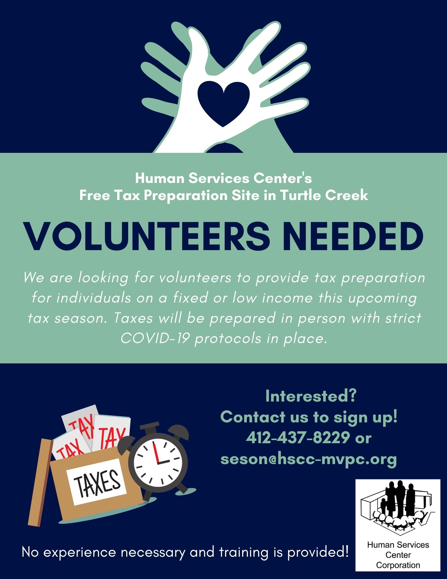 A flyer to recruit volunteers for a tax assistance program. Shows two hands and our logo